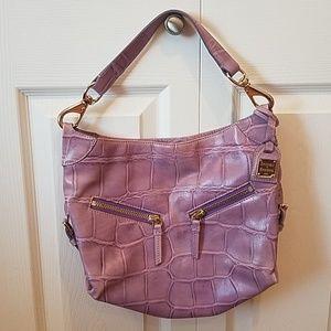 Dooney small cinzia purple croc bag
